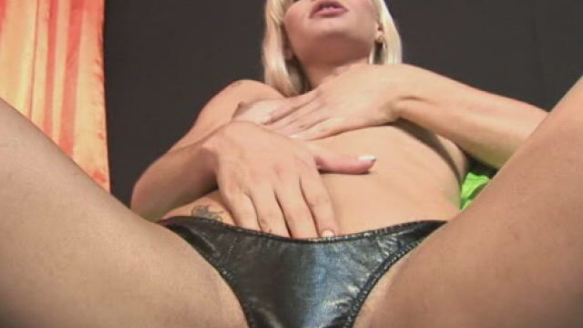 Salacious Blonde Tranny Thays Schiavinato Touching Her Small Mickey And Minnie And Taking Part In Along With Her Onerous Willy