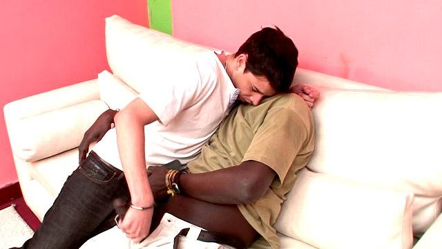 Great Brunette Gay Naza Giving Handjob To Canu's Unattainable Black Penis On The Couch