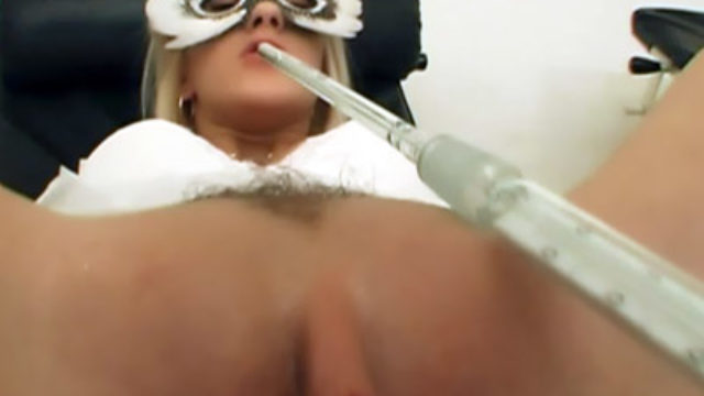 Blonde Nurse Unfold Legged On The Desk