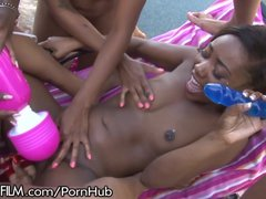 Chanell Middle All Gal Dark-hued Group Sex!