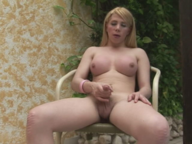 Inviting Blond Shemale With Ample Tympanies Fabi Colt Jacking Her Pecker At The Stool