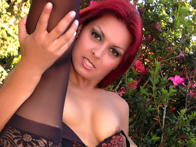 Tights Clothed Red-haired Outside Fuckfest